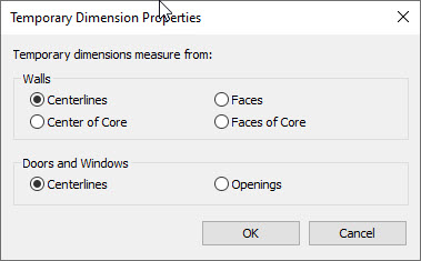 Revit temporary dimensions